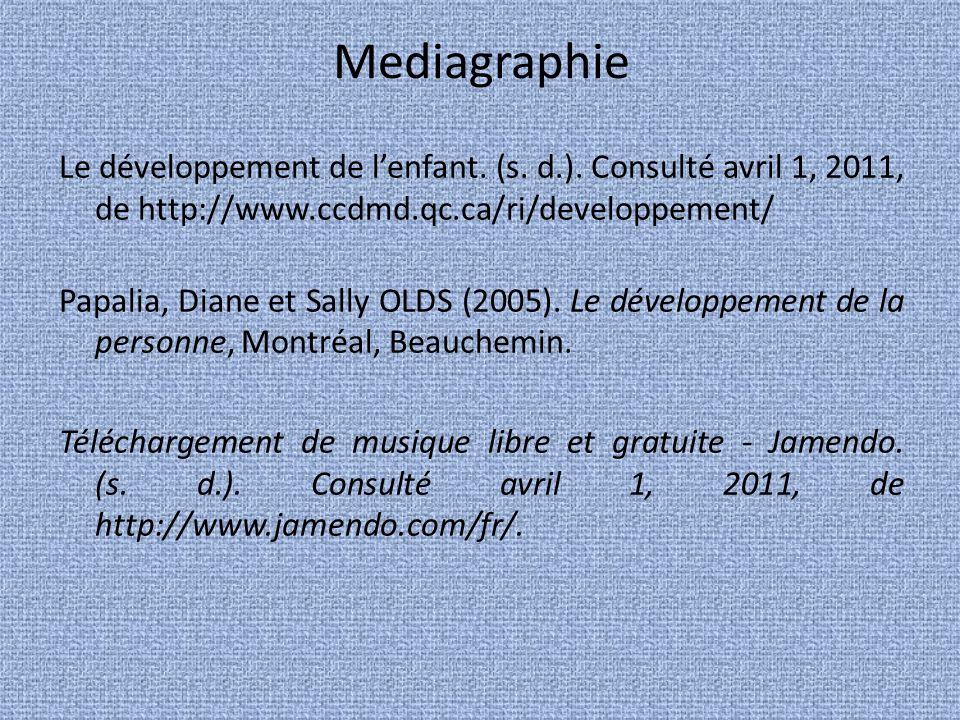 Mediagraphie Le développement de lenfant.(s. d.).
