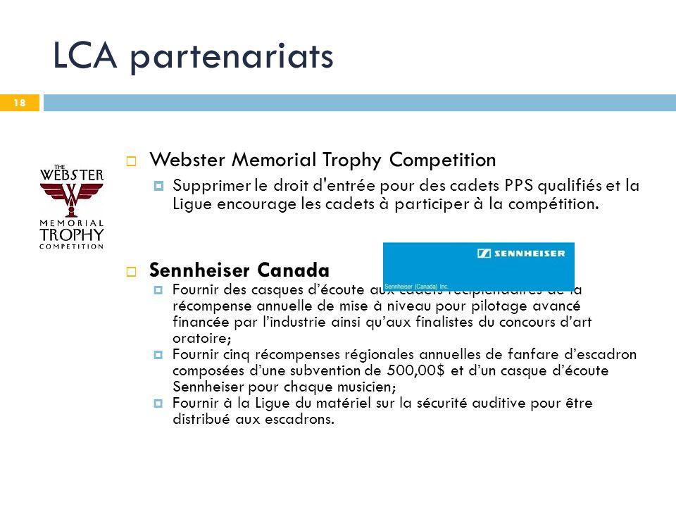 18 LCA partenariats Webster Memorial Trophy Competition Supprimer le droit d entrée pour des cadets PPS qualifiés et la Ligue encourage les cadets à participer à la compétition.