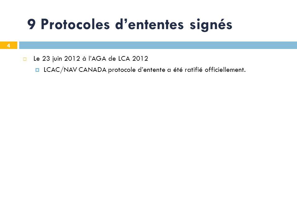 4 9 Protocoles dententes signés Le 23 juin 2012 à lAGA de LCA 2012 LCAC/NAV CANADA protocole dentente a été ratifié officiellement.