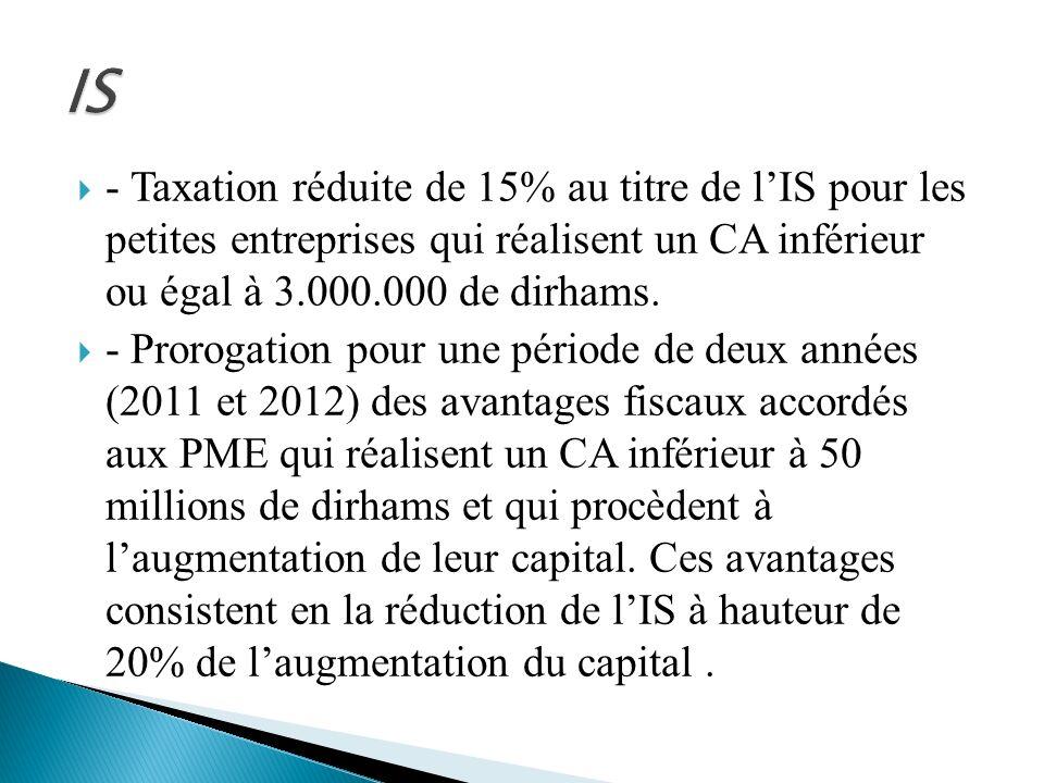 - Taxation réduite de 15% au titre de lIS pour les petites entreprises qui réalisent un CA inférieur ou égal à 3.000.000 de dirhams. - Prorogation pou
