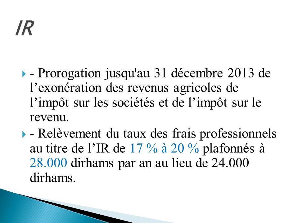 - Prorogation jusqu'au 31 décembre 2013 de lexonération des revenus agricoles de limpôt sur les sociétés et de limpôt sur le revenu. - Relèvement du t