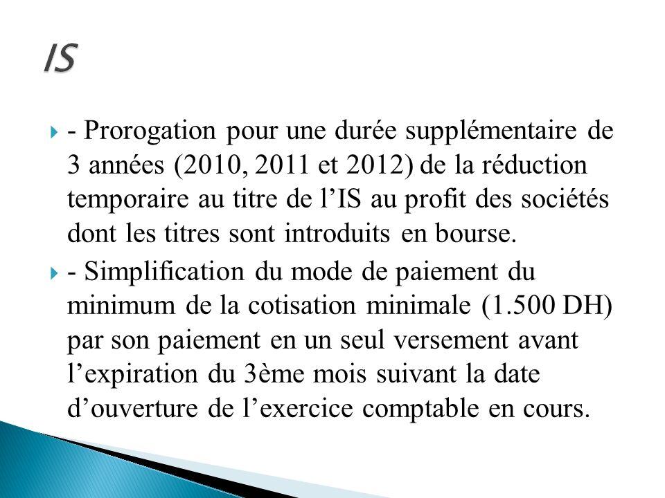 - Prorogation pour une durée supplémentaire de 3 années (2010, 2011 et 2012) de la réduction temporaire au titre de lIS au profit des sociétés dont le