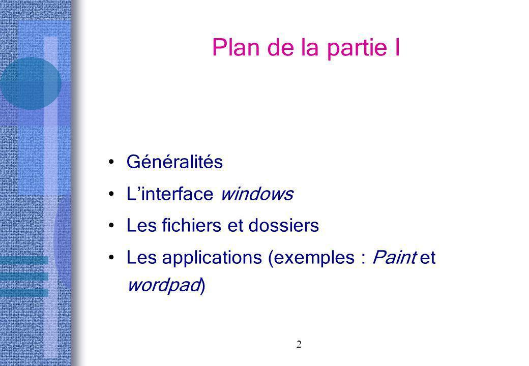 2 Plan de la partie I Généralités Linterface windows Les fichiers et dossiers Les applications (exemples : Paint et wordpad)