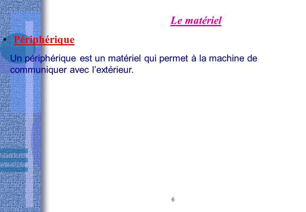 6 Le matériel Périphérique Un périphérique est un matériel qui permet à la machine de communiquer avec lextérieur.
