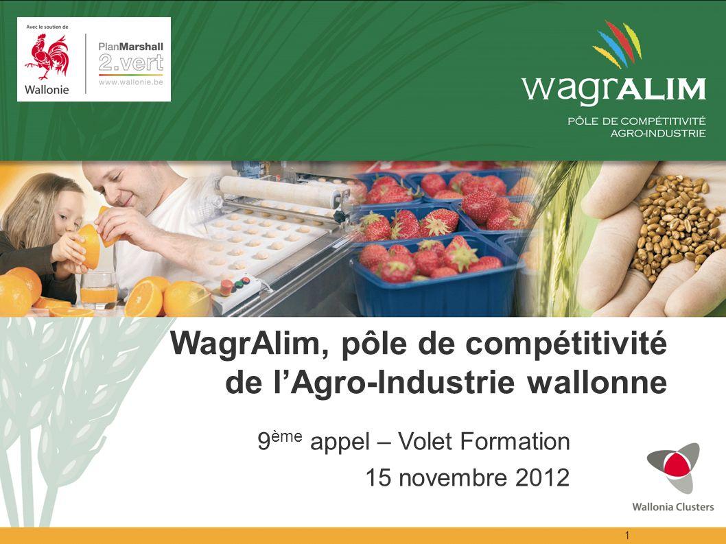 1 WagrAlim, pôle de compétitivité de lAgro-Industrie wallonne 9 ème appel – Volet Formation 15 novembre 2012