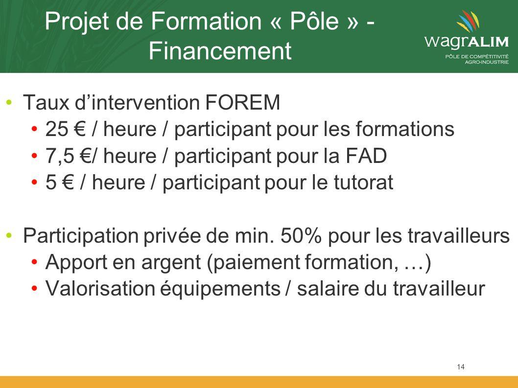 Projet de Formation « Pôle » - Financement Taux dintervention FOREM 25 / heure / participant pour les formations 7,5 / heure / participant pour la FAD 5 / heure / participant pour le tutorat Participation privée de min.