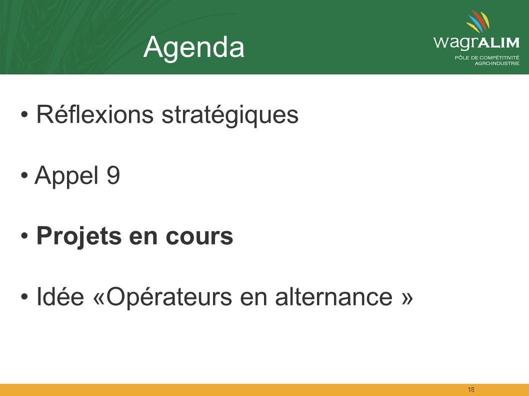 18 Agenda Réflexions stratégiques Appel 9 Projets en cours Idée «Opérateurs en alternance »