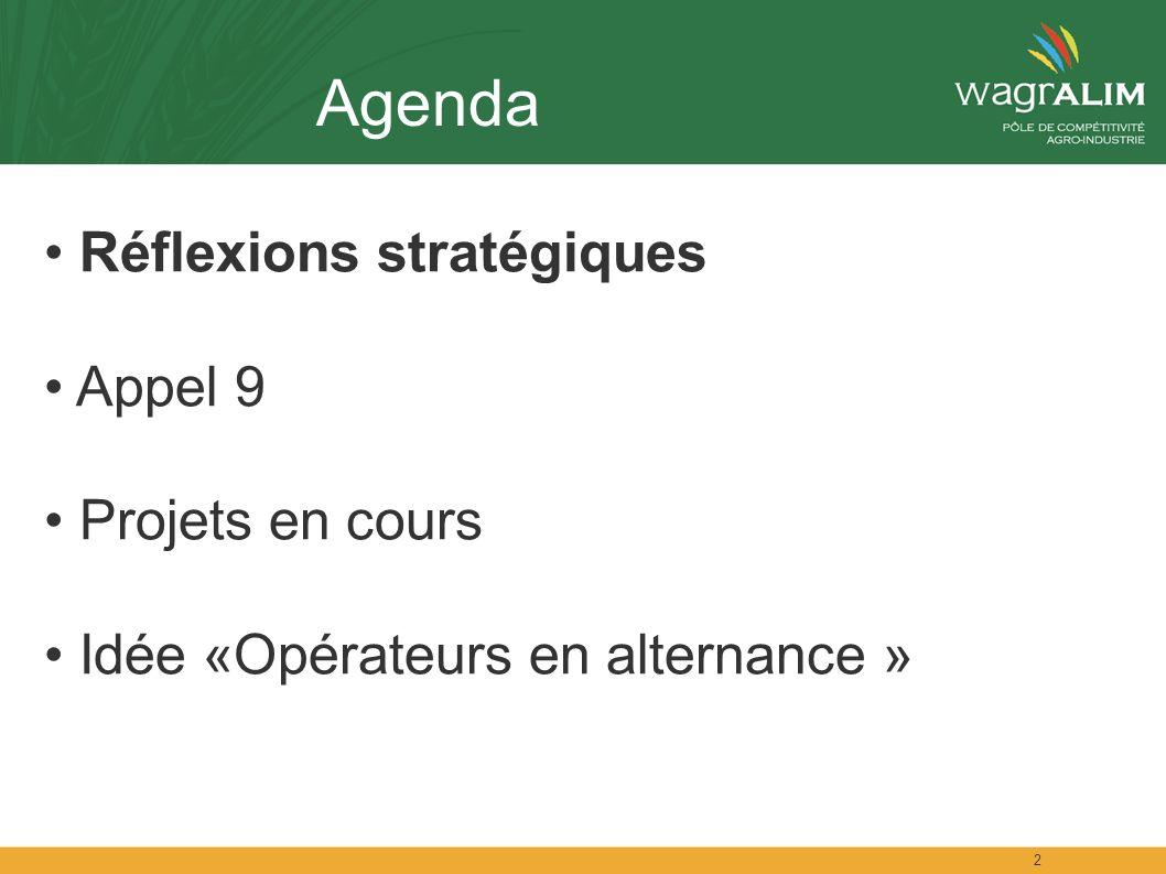 2 Agenda Réflexions stratégiques Appel 9 Projets en cours Idée «Opérateurs en alternance »