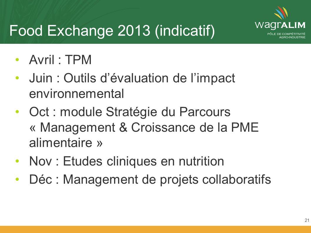 Food Exchange 2013 (indicatif) Avril : TPM Juin : Outils dévaluation de limpact environnemental Oct : module Stratégie du Parcours « Management & Croissance de la PME alimentaire » Nov : Etudes cliniques en nutrition Déc : Management de projets collaboratifs 21