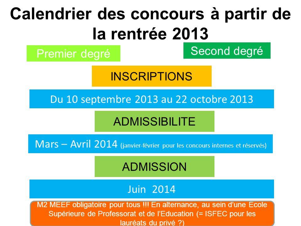 Calendrier des concours à partir de la rentrée 2013 Premier degré INSCRIPTIONS Second degré Du 10 septembre 2013 au 22 octobre 2013 ADMISSIBILITE Mars