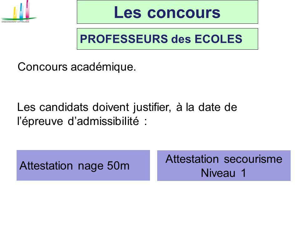 Les concours PROFESSEURS des ECOLES Concours académique. Les candidats doivent justifier, à la date de lépreuve dadmissibilité : Attestation nage 50m