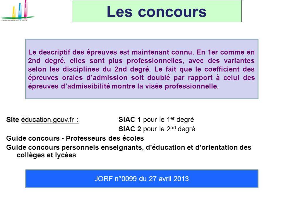 Les concours JORF n°0099 du 27 avril 2013 Le descriptif des épreuves est maintenant connu. En 1er comme en 2nd degré, elles sont plus professionnelles