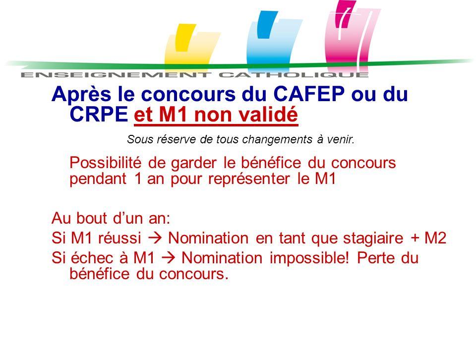 Après le concours du CAFEP ou du CRPE et M1 non validé Possibilité de garder le bénéfice du concours pendant 1 an pour représenter le M1 Au bout dun a