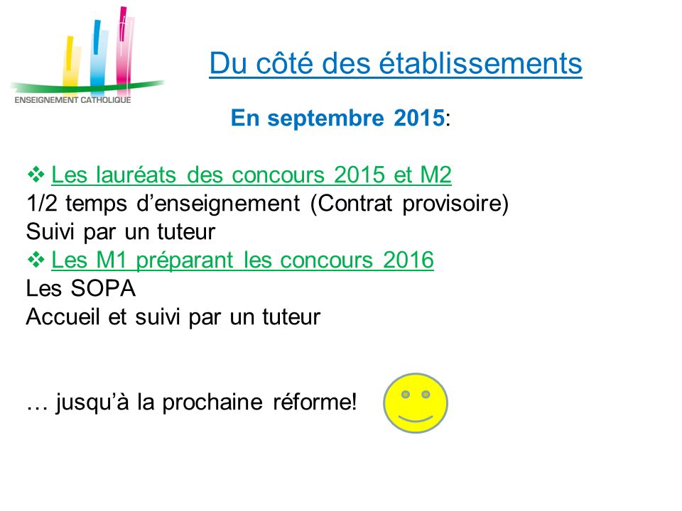 En septembre 2015: Les lauréats des concours 2015 et M2 1/2 temps denseignement (Contrat provisoire) Suivi par un tuteur Les M1 préparant les concours