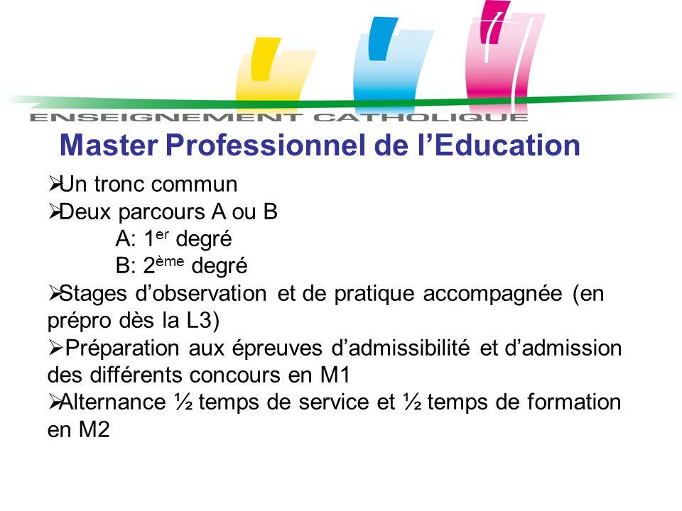 Master Professionnel de lEducation Un tronc commun Deux parcours A ou B A: 1 er degré B: 2 ème degré Stages dobservation et de pratique accompagnée (e