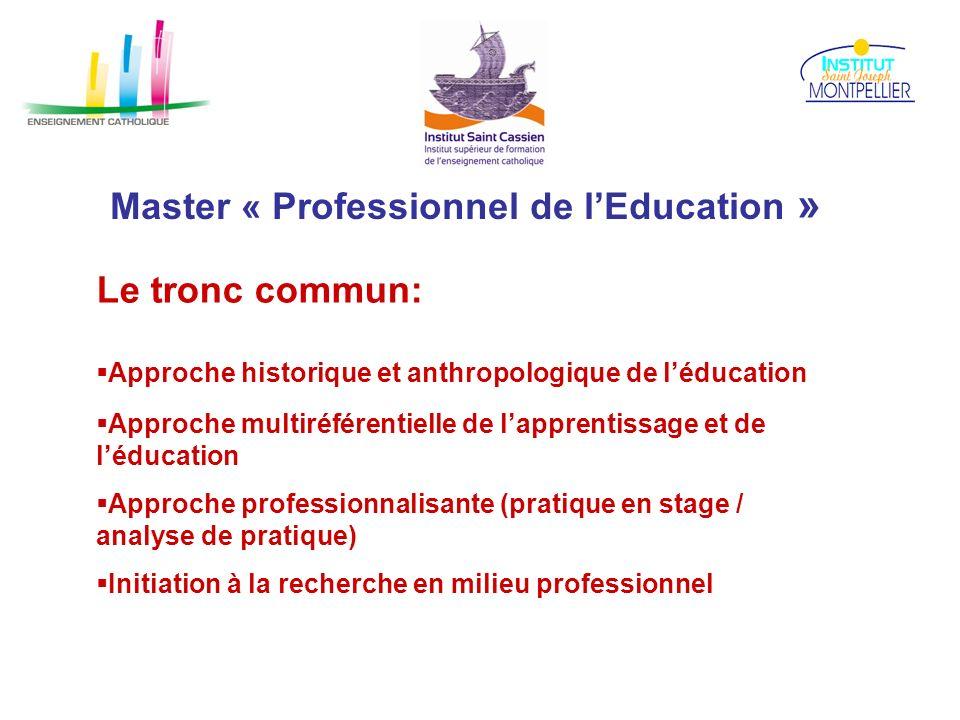 Master « Professionnel de lEducation » Le tronc commun: Approche historique et anthropologique de léducation Approche multiréférentielle de lapprentis