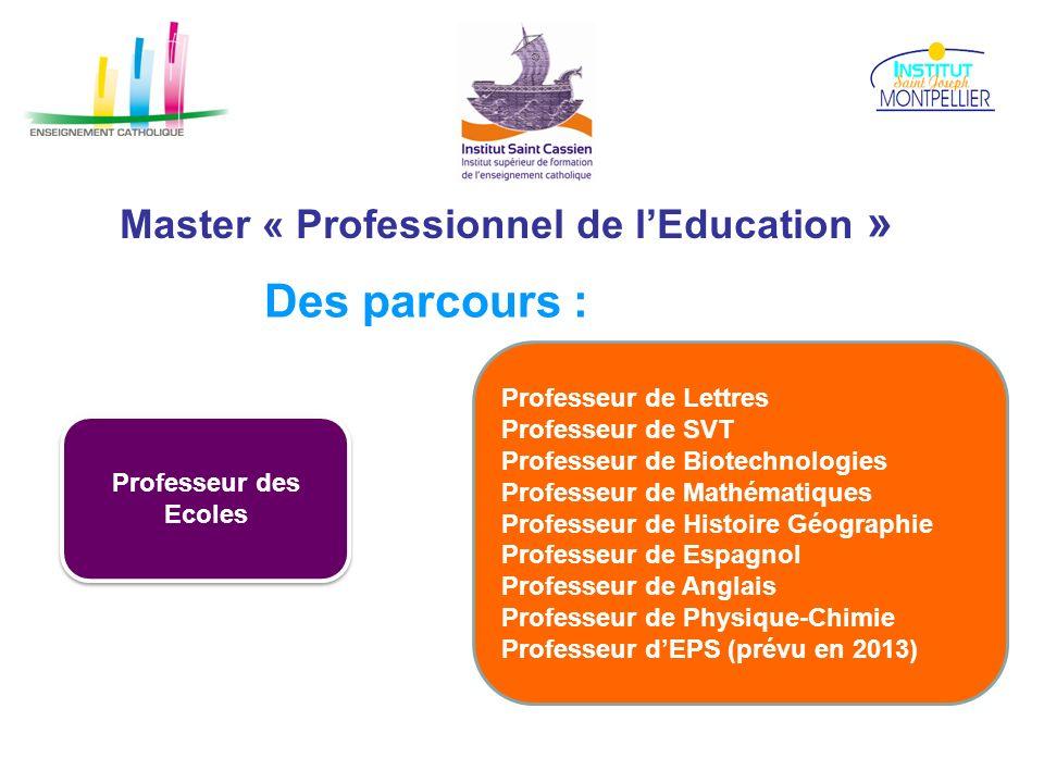 Master « Professionnel de lEducation » Des parcours : Professeur des Ecoles Professeur de Lettres Professeur de SVT Professeur de Biotechnologies Prof