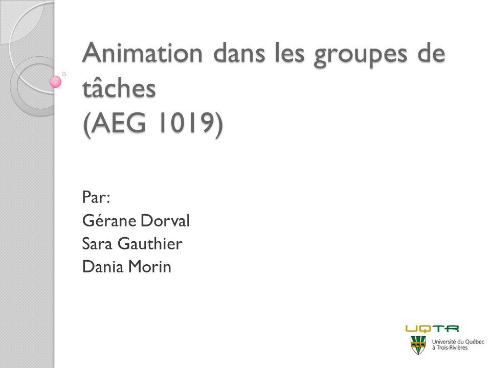 Animation dans les groupes de tâches (AEG 1019) Par: Gérane Dorval Sara Gauthier Dania Morin