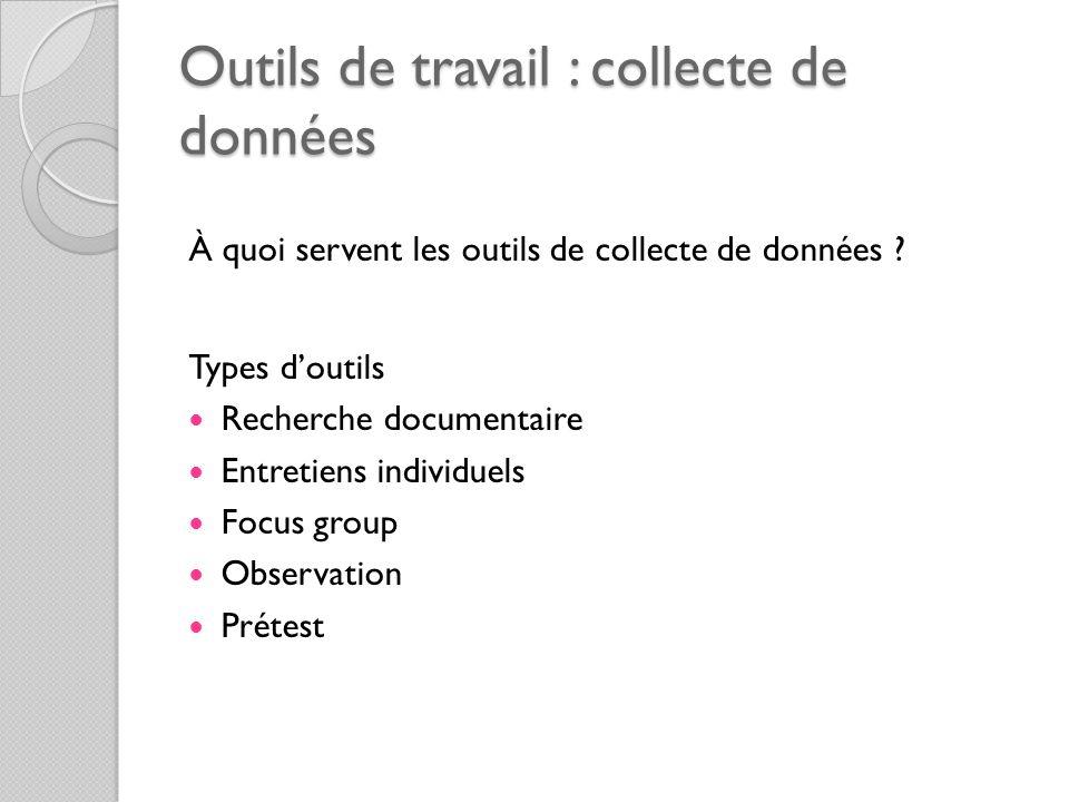 Outils de travail : collecte de données À quoi servent les outils de collecte de données ? Types doutils Recherche documentaire Entretiens individuels