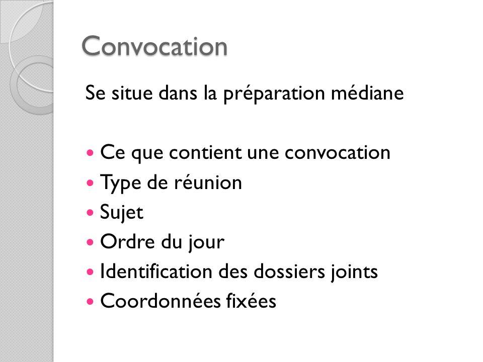 Convocation Se situe dans la préparation médiane Ce que contient une convocation Type de réunion Sujet Ordre du jour Identification des dossiers joint