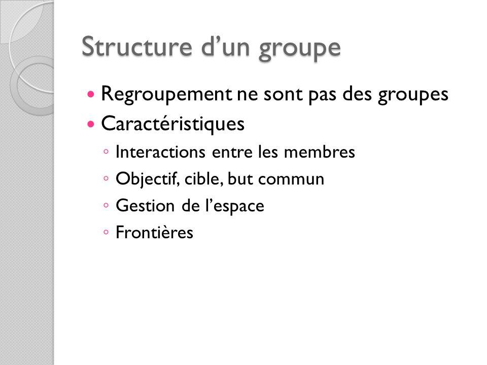 Structure dun groupe Regroupement ne sont pas des groupes Caractéristiques Interactions entre les membres Objectif, cible, but commun Gestion de lespa