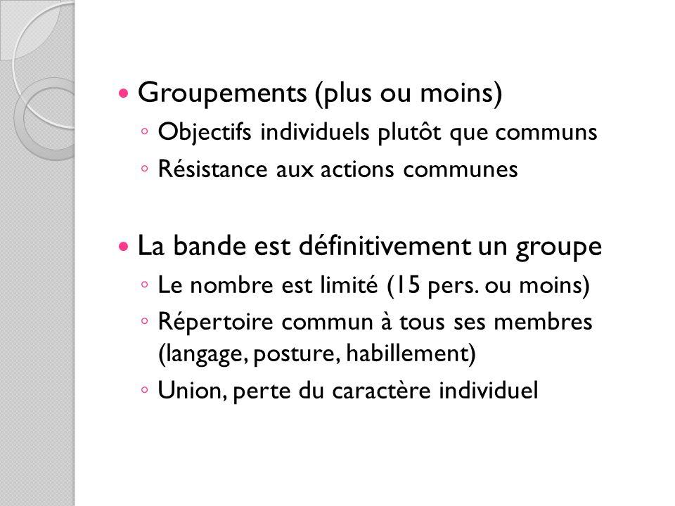 Groupements (plus ou moins) Objectifs individuels plutôt que communs Résistance aux actions communes La bande est définitivement un groupe Le nombre e