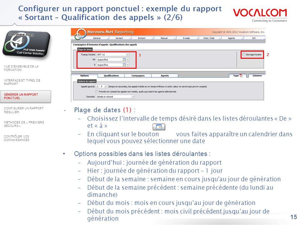 15 Configurer un rapport ponctuel : exemple du rapport « Sortant – Qualification des appels » (2/6) Plage de dates (1) : –Choisissez lintervalle de te