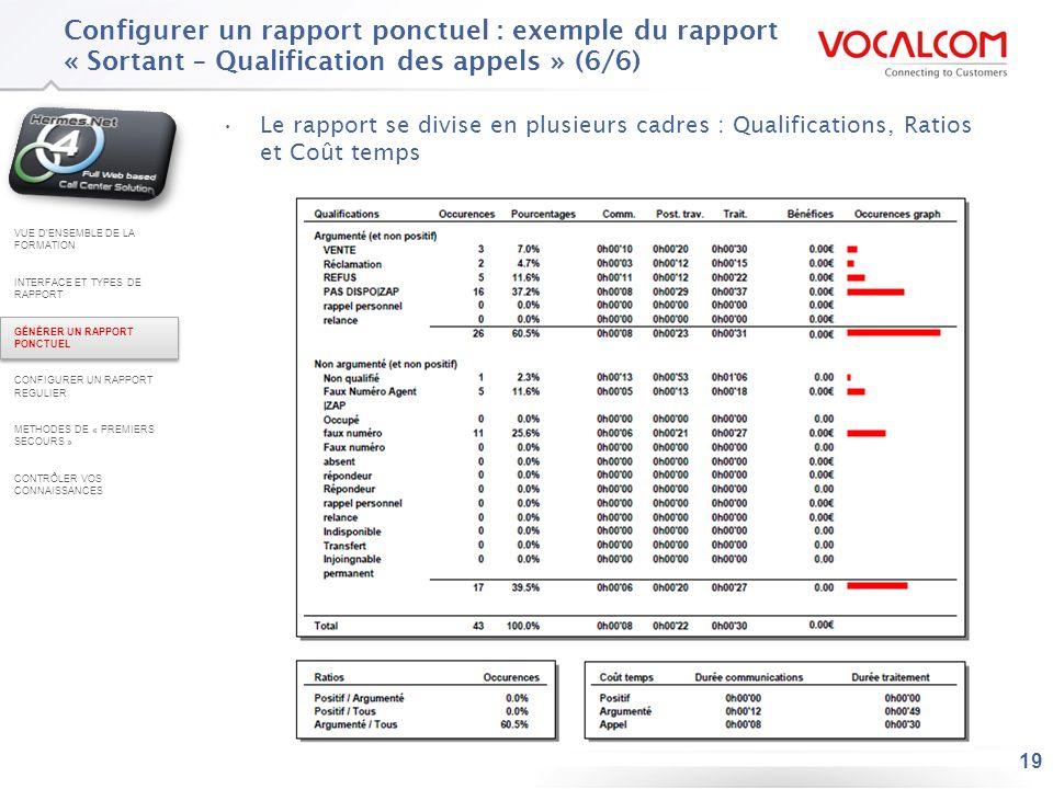 19 Configurer un rapport ponctuel : exemple du rapport « Sortant – Qualification des appels » (6/6) Le rapport se divise en plusieurs cadres : Qualifi