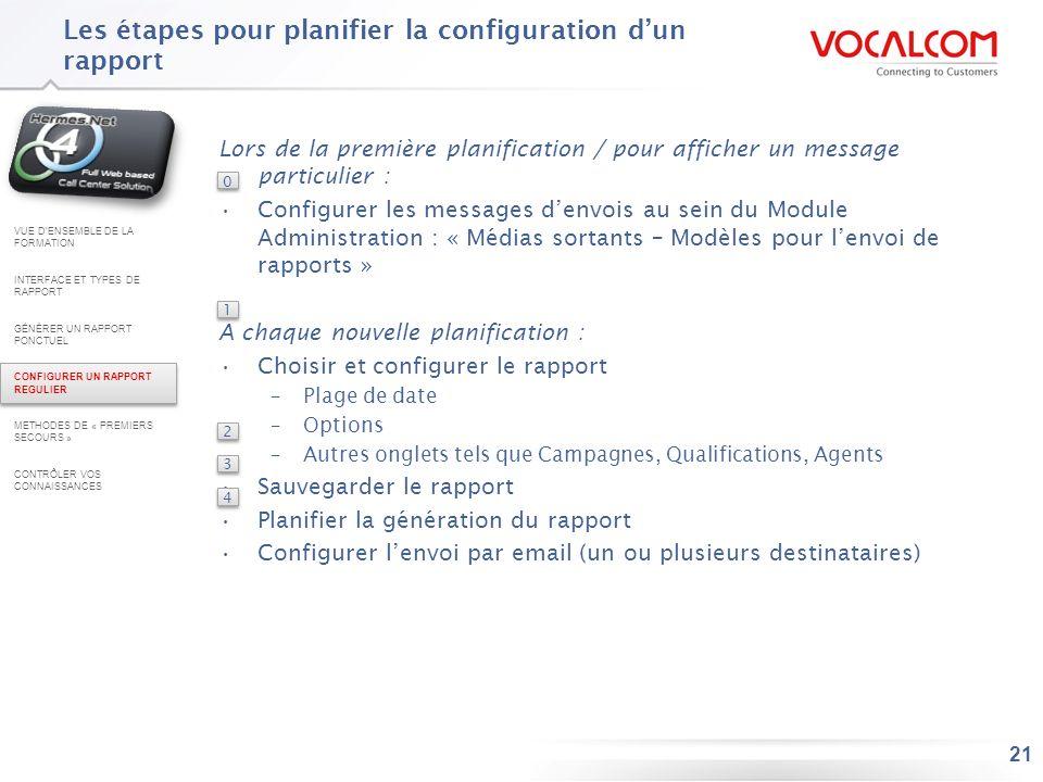 21 Les étapes pour planifier la configuration dun rapport Lors de la première planification / pour afficher un message particulier : Configurer les me