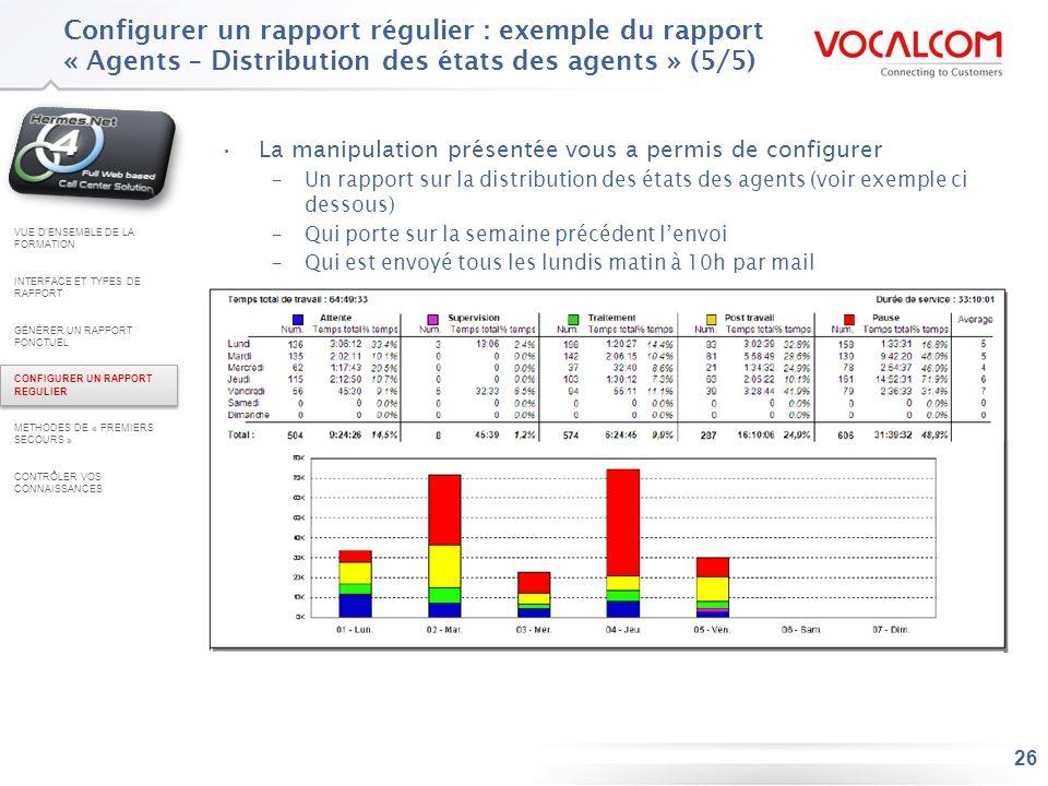 26 Configurer un rapport régulier : exemple du rapport « Agents – Distribution des états des agents » (5/5) La manipulation présentée vous a permis de