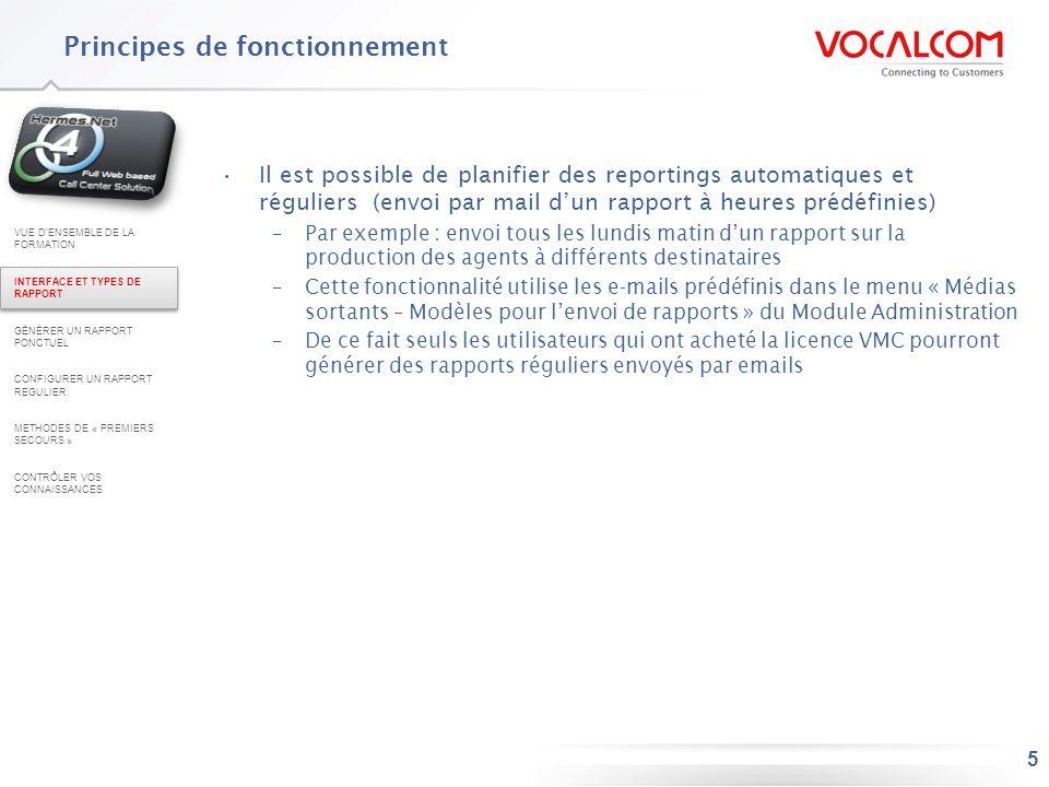 5 Principes de fonctionnement Il est possible de planifier des reportings automatiques et réguliers (envoi par mail dun rapport à heures prédéfinies)