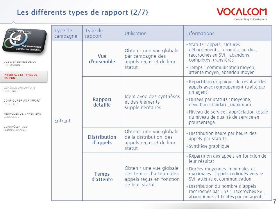 18 Configurer un rapport ponctuel : exemple du rapport « Sortant – Qualification des appels » (5/6) En haut à droite, choisissez le Type de rapport (format) puis cliquez sur générer – une fenêtre pop up souvre : –Pendant la génération du rapport, létat « En file » est indiqué.