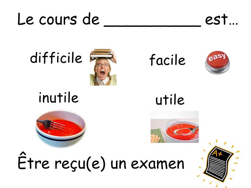 difficile facile inutile utile Le cours de __________ est… Être reçu(e) un examen