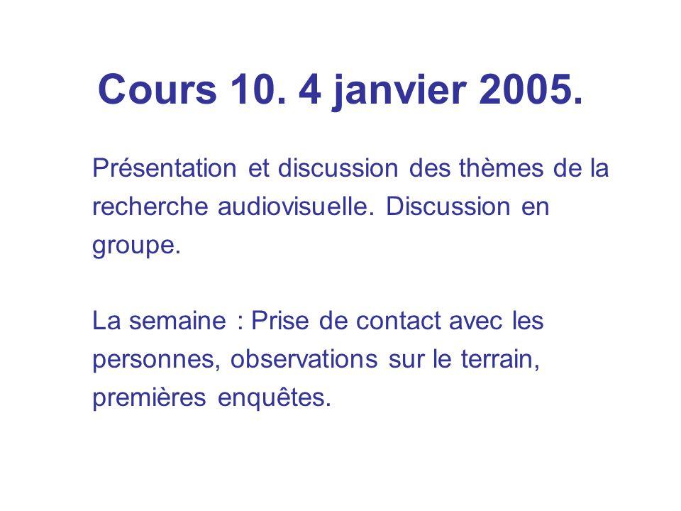Cours 10. 4 janvier 2005. Présentation et discussion des thèmes de la recherche audiovisuelle.