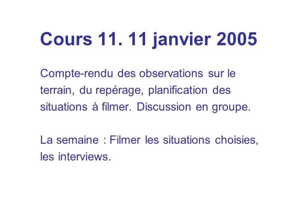 Cours 11. 11 janvier 2005 Compte-rendu des observations sur le terrain, du repérage, planification des situations à filmer. Discussion en groupe. La s