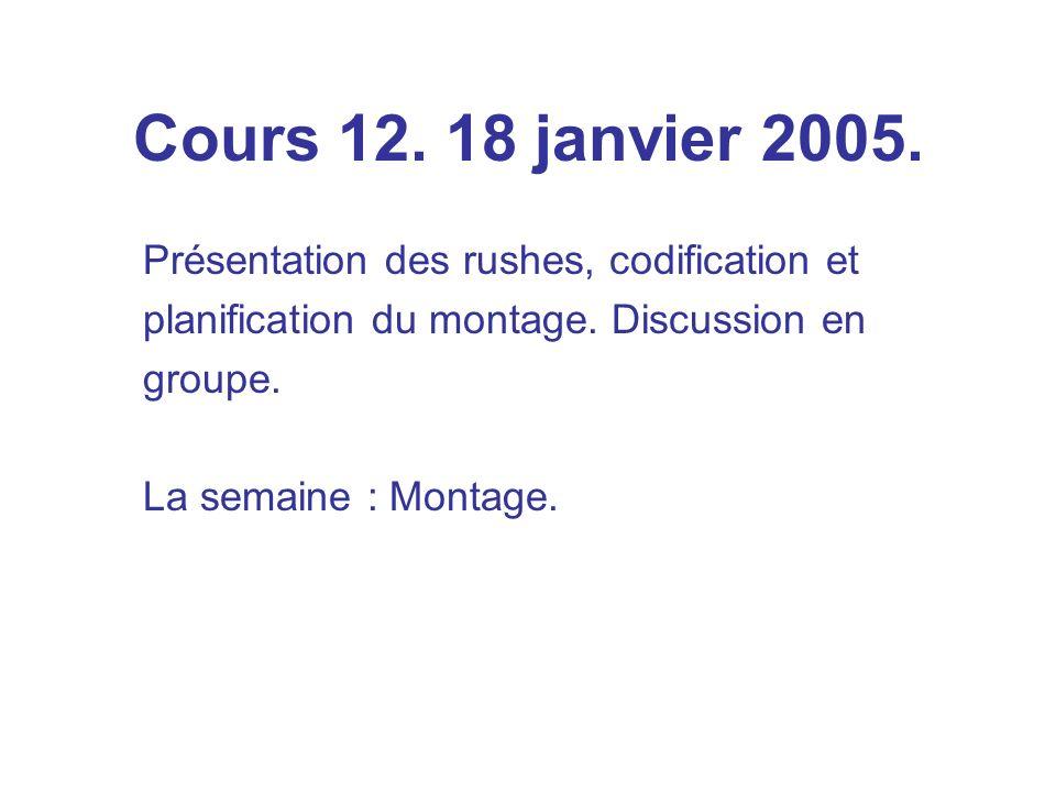 Cours 12. 18 janvier 2005. Présentation des rushes, codification et planification du montage.