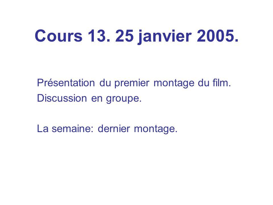 Cours 13. 25 janvier 2005. Présentation du premier montage du film.