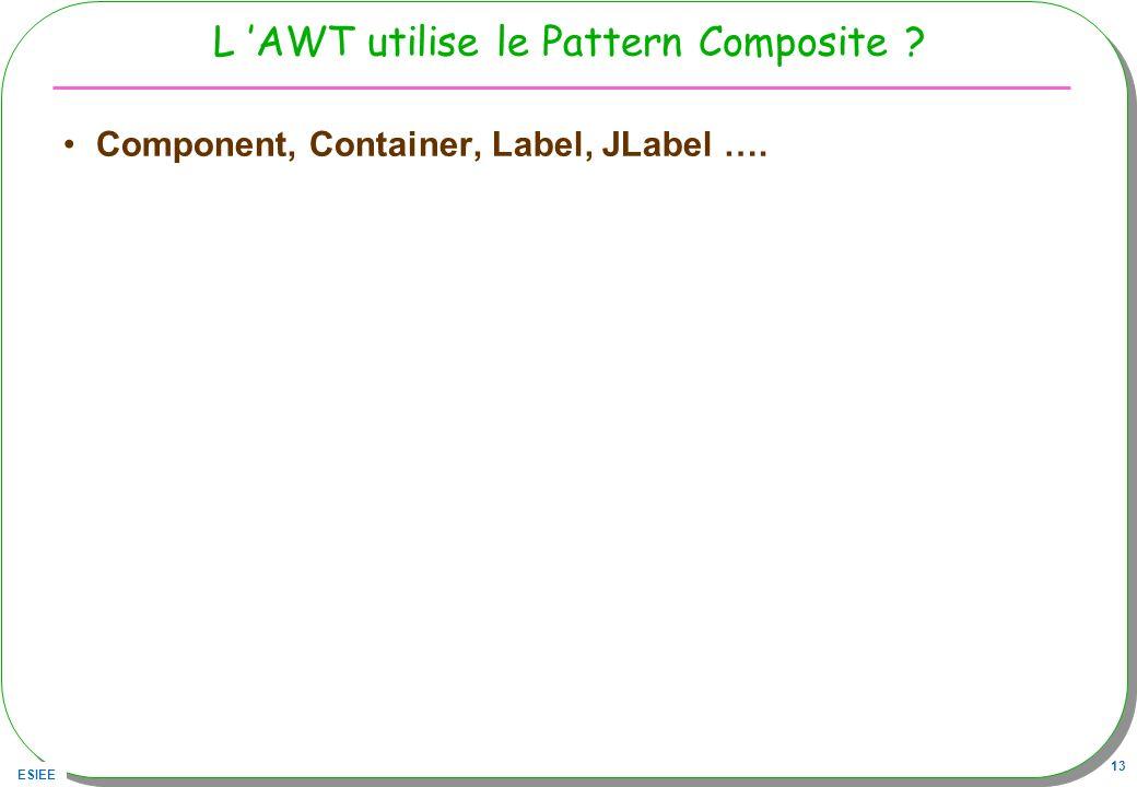 ESIEE 13 L AWT utilise le Pattern Composite ? Component, Container, Label, JLabel ….