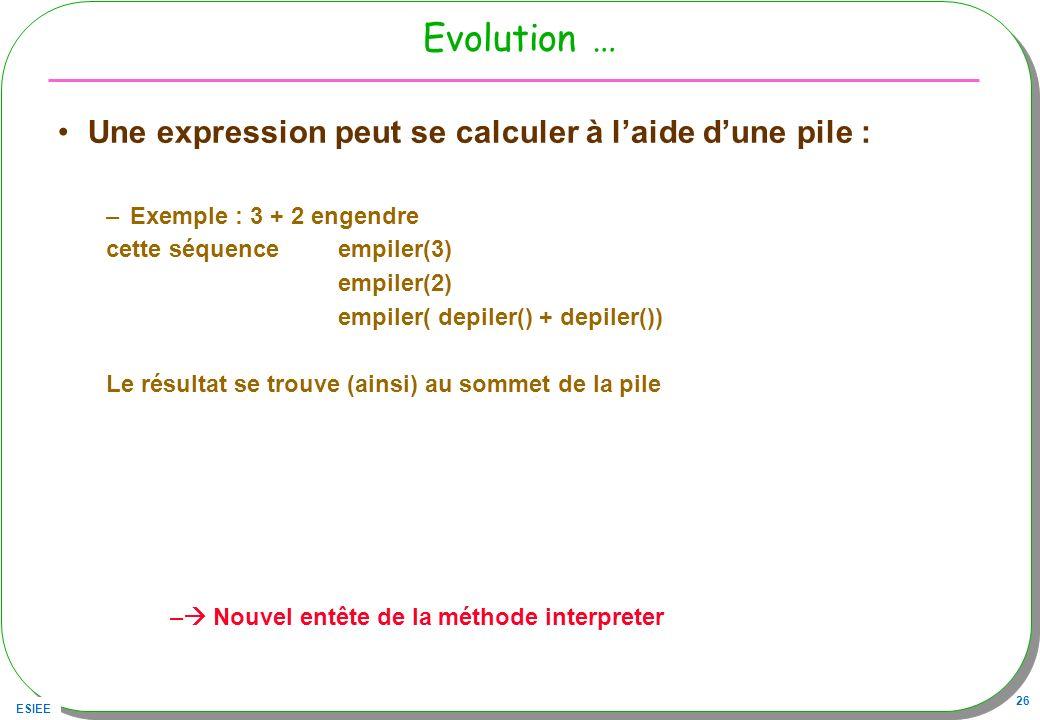 ESIEE 26 Evolution … Une expression peut se calculer à laide dune pile : –Exemple : 3 + 2 engendre cette séquence empiler(3) empiler(2) empiler( depil