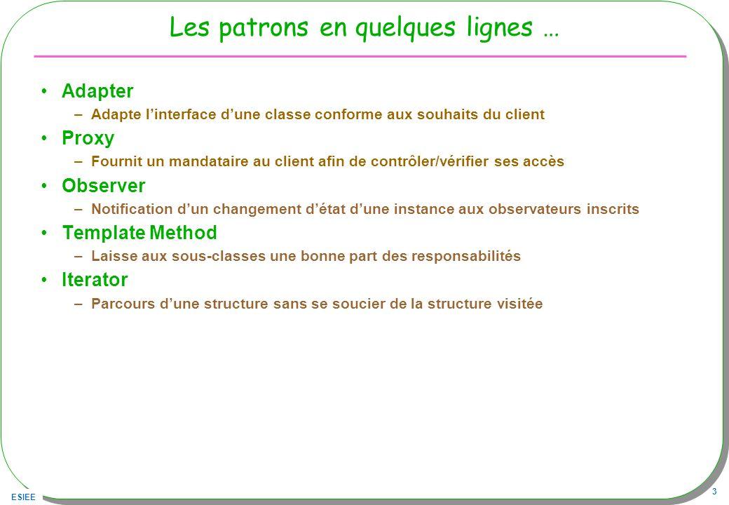 ESIEE 3 Les patrons en quelques lignes … Adapter –Adapte linterface dune classe conforme aux souhaits du client Proxy –Fournit un mandataire au client