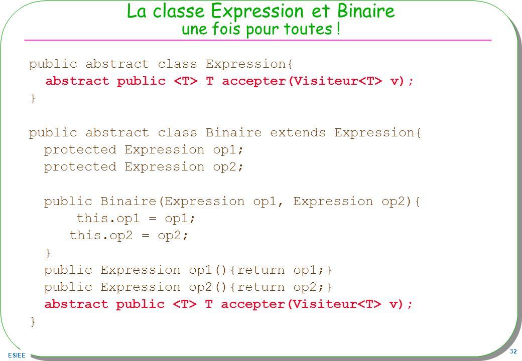 ESIEE 32 La classe Expression et Binaire une fois pour toutes ! public abstract class Expression{ abstract public T accepter(Visiteur v); } public abs