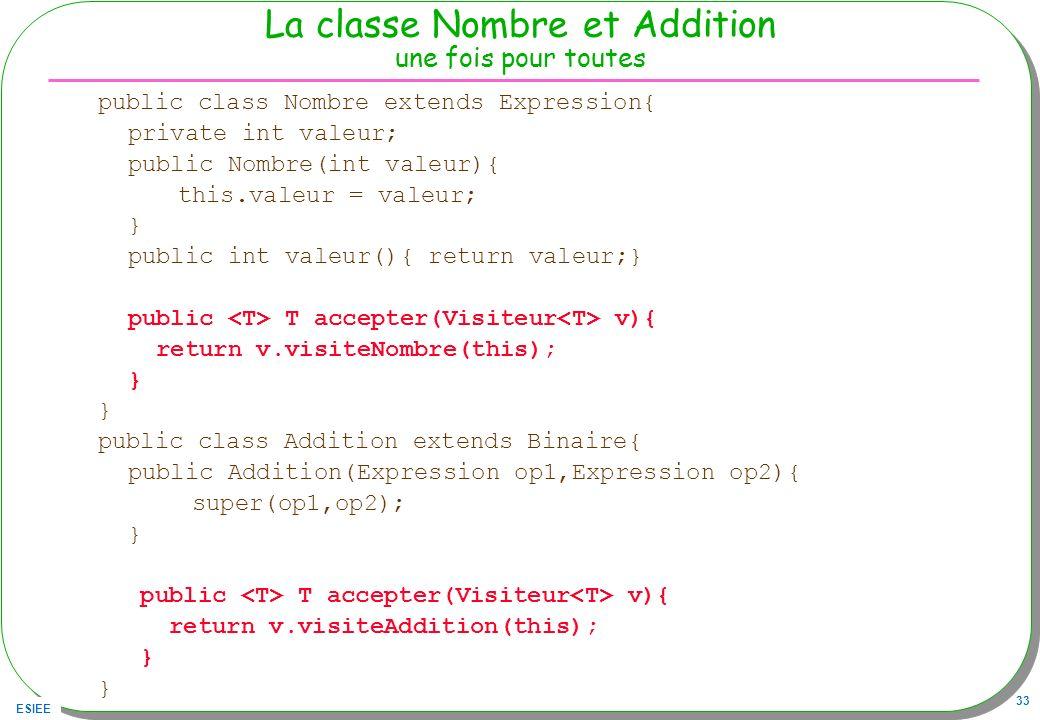 ESIEE 33 La classe Nombre et Addition une fois pour toutes public class Nombre extends Expression{ private int valeur; public Nombre(int valeur){ this