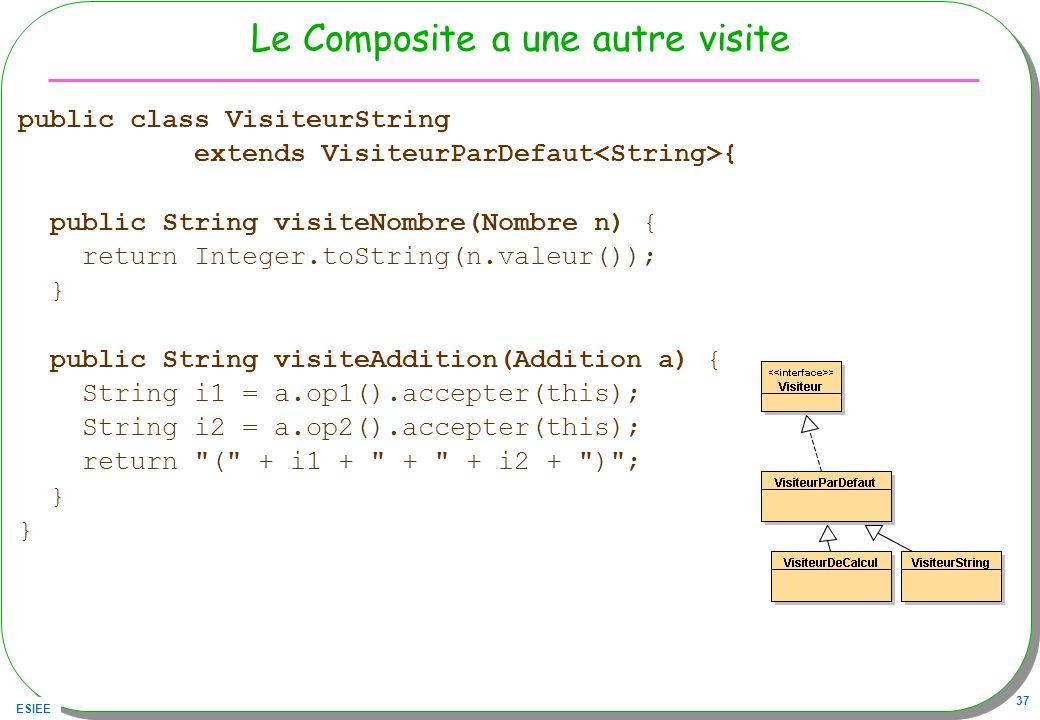 ESIEE 37 Le Composite a une autre visite public class VisiteurString extends VisiteurParDefaut { public String visiteNombre(Nombre n) { return Integer