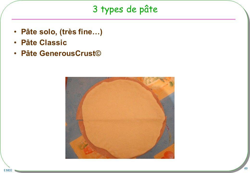ESIEE 49 3 types de pâte Pâte solo, (très fine…) Pâte Classic Pâte GenerousCrust©