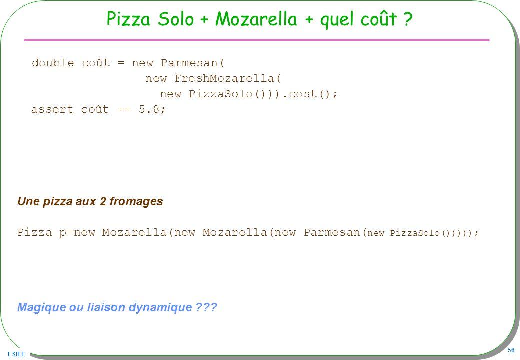 ESIEE 56 Pizza Solo + Mozarella + quel coût ? double coût = new Parmesan( new FreshMozarella( new PizzaSolo())).cost(); assert coût == 5.8; Une pizza