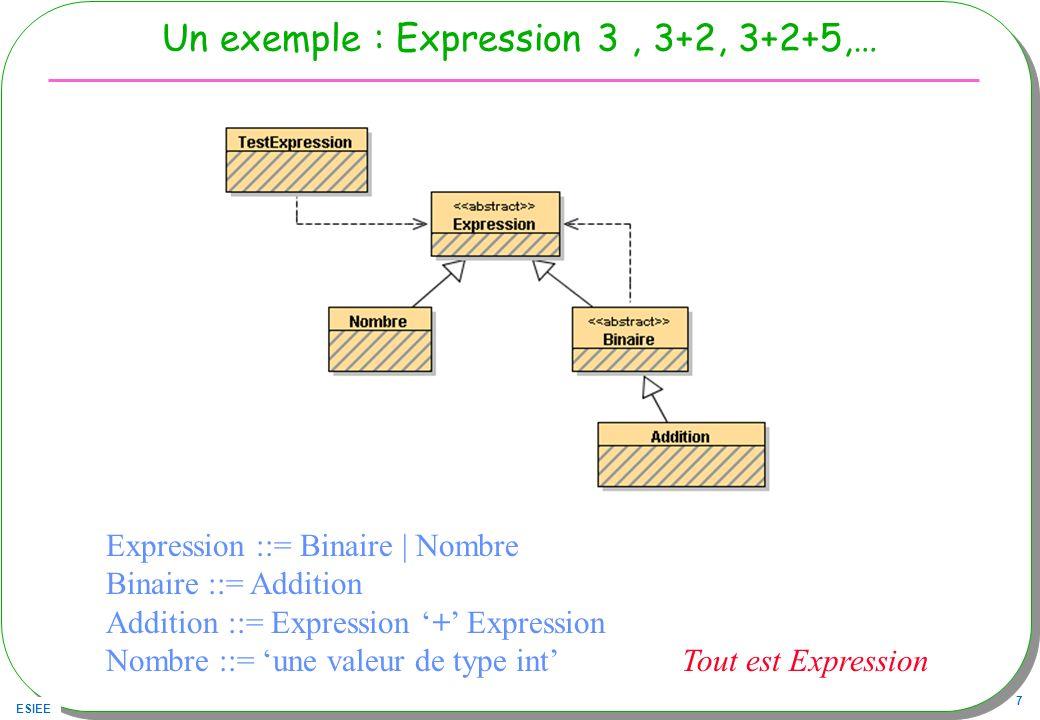 ESIEE 38 La classe TestExpression re-visitée public class TestExpression{ public static void main(String[] args){ Visiteur vc = new VisiteurDeCalcul(); Visiteur vs = new VisiteurString(); Expression exp1 = new Nombre(321); System.out.println( resultat exp1 : + exp1.accepter(vs) + = + exp1.accepter(vc)); Expression exp2 = new Addition(new Nombre(33),new Nombre(33)); System.out.println( resultat exp2 : + exp2.accepter(vs) + = + exp2.accepter(vc)); Expression exp3 = new Addition( new Nombre(33), new Addition(new Nombre(33),new Nombre(11)) ); System.out.println( resultat exp3 : + exp3.accepter(vs) + = + exp3.accepter(vc)); Expression exp4 = new Addition(exp1,exp3); System.out.println( resultat exp4 : + exp4.accepter(vs) + = + exp4.accepter(vc)); } }