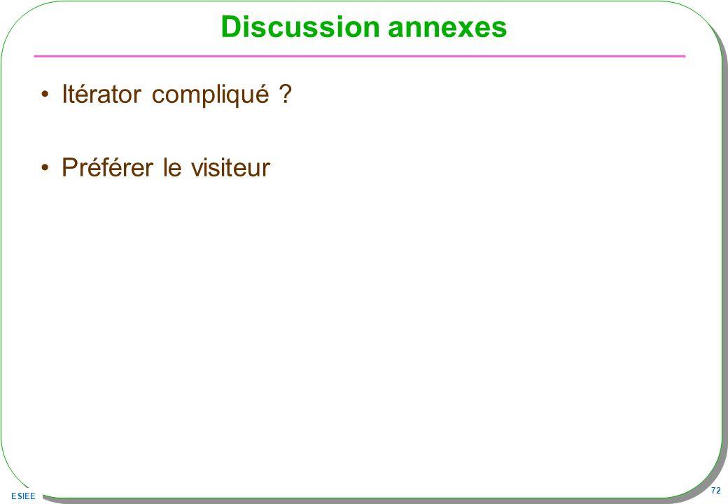 ESIEE 72 Discussion annexes Itérator compliqué ? Préférer le visiteur