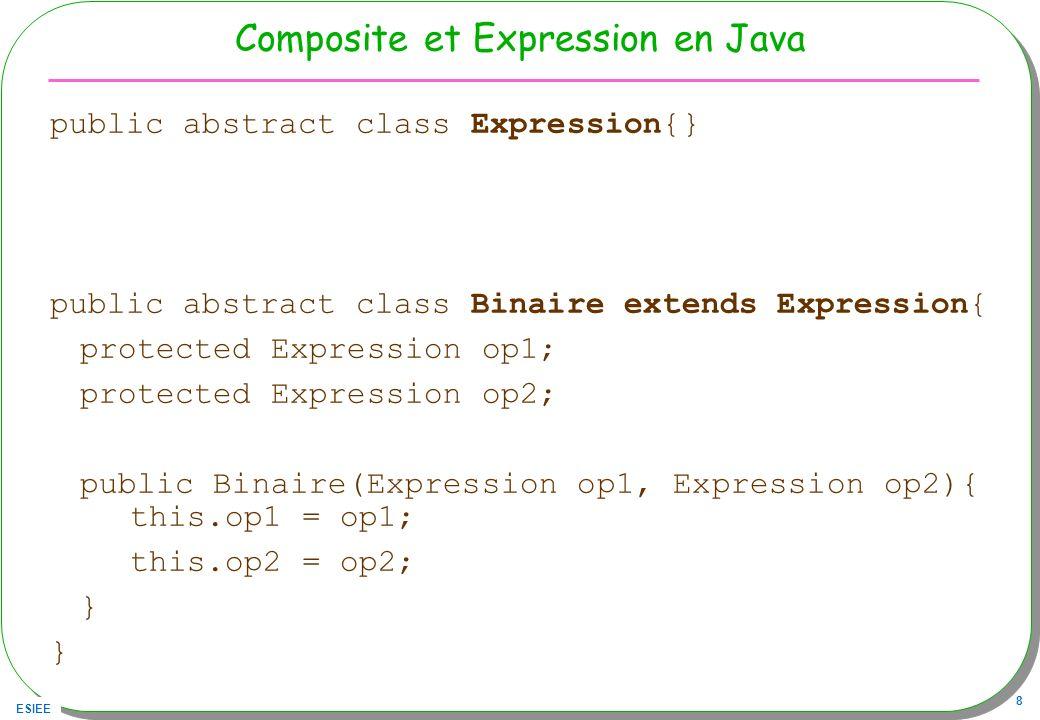 ESIEE 9 Composite et Expression en Java public class Addition extends Binaire{ public Addition(Expression op1,Expression op2){ super(op1,op2); } public class Nombre extends Expression{ private int valeur; public Nombre(int valeur){ this.valeur = valeur; }