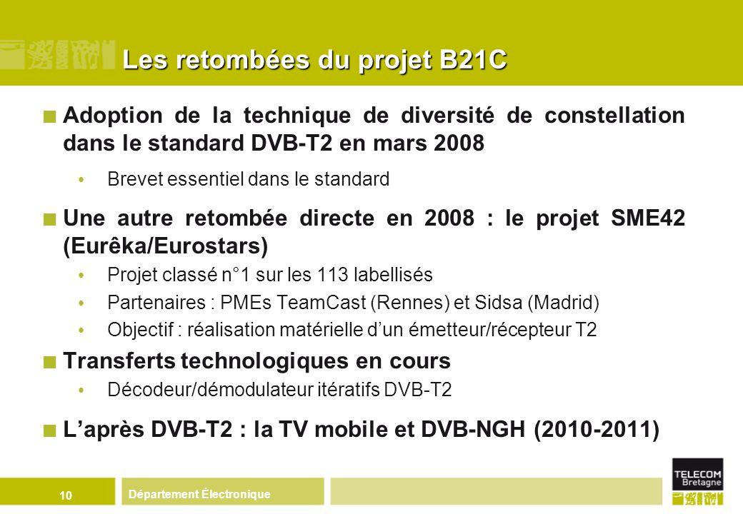 Département Électronique 10 Les retombées du projet B21C Adoption de la technique de diversité de constellation dans le standard DVB-T2 en mars 2008 B