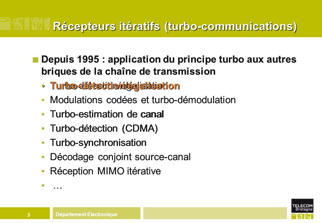 Département Électronique 4 Entrelaceur Information extrinsèque Données décodées Décodeur La turbo-égalisation/détection (1995) : principe Modèle de la chaîne de transmission avec turbo-détection Détecteur canal Désentrelaceur -1 Codeur convolutif Canal à interférences Données à transmettre Entrelaceur c n+1 c n c n -1 c n-L 1 -1 G (n) 0 G (n) 1 L G (n) 2 G(n) -L G (n) 1 b n R n c n+L 2 s n-1 sn-Lsn-L snsn sn+Lsn+L